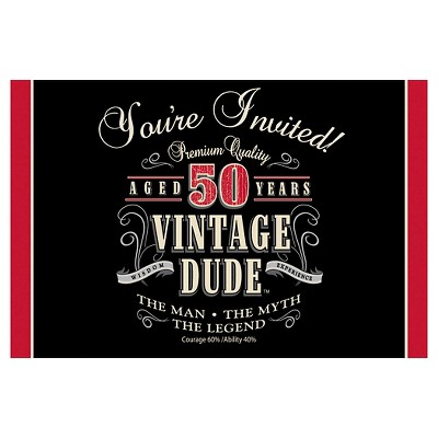 8ct Vintage Dude 50th Birthday Invitations