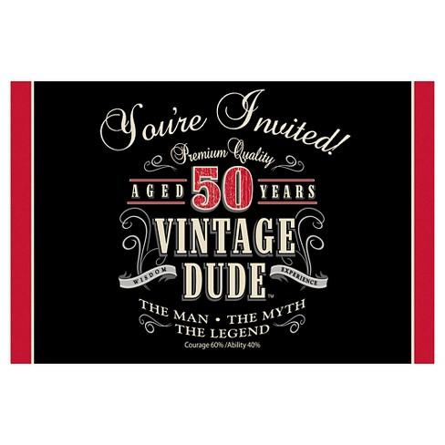 8ct Vintage Dude 50th Birthday Invitations Target