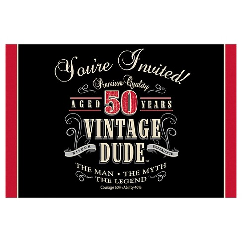 8ct Vintage Dude 50th Birthday Invitations Target