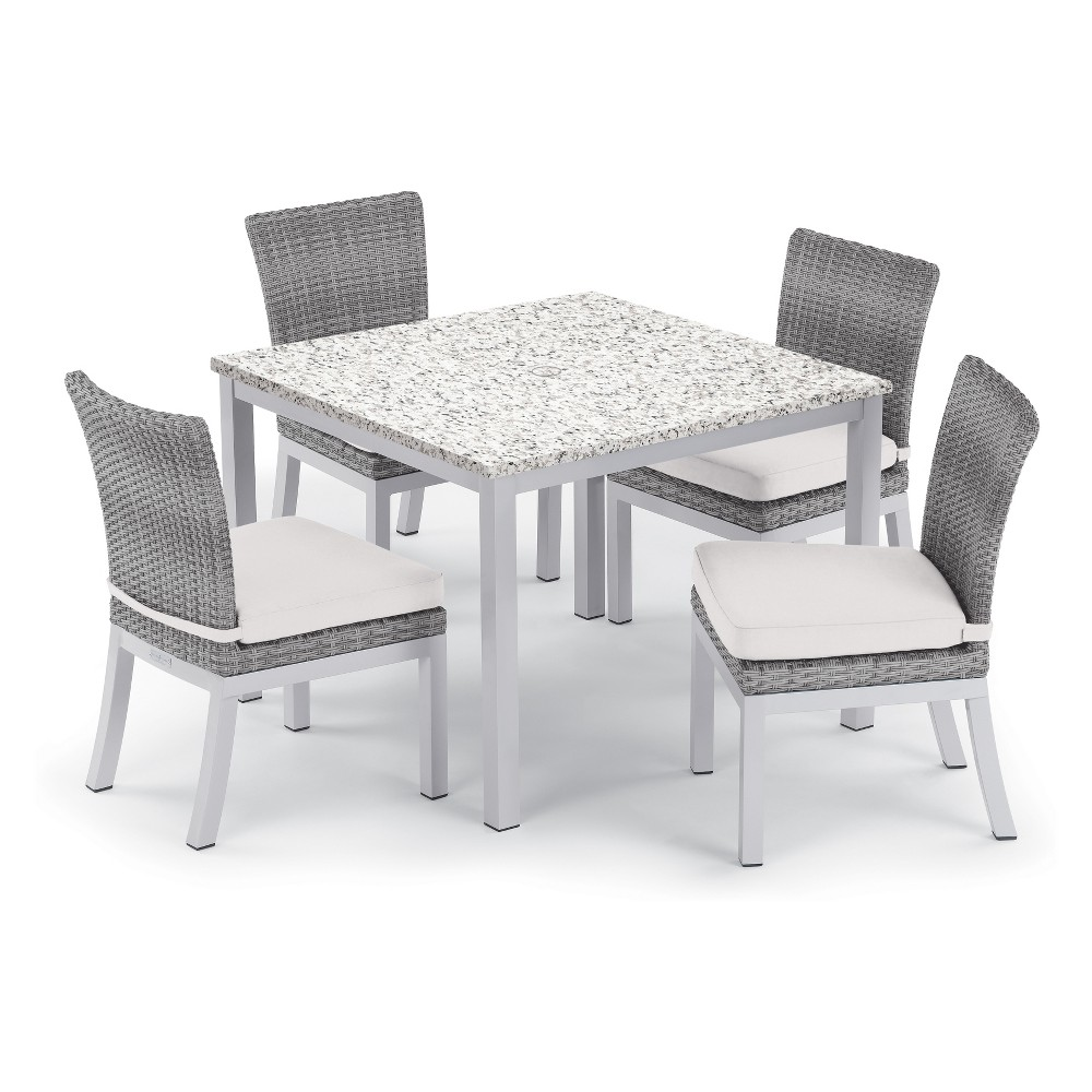 "Image of ""5pc Travira 39"""" Ash Dining Table & Argento Side Chair Set Eggshell White Cushions - Oxford Garden, Beige"""
