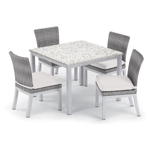 5pc Travira 39 Ash Dining Table Argento Side Chair Set Oxford Garden