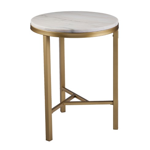Aiden Lane Galatea Marble Side Table Champagne With Ivory Marble Target