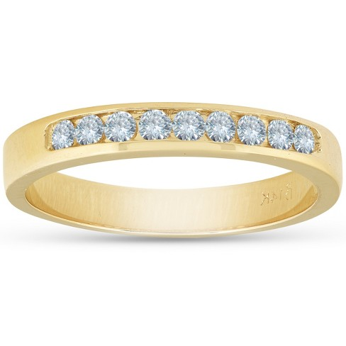 Pompeii3 14k Yellow Gold 1/4ct Diamond Wedding Stackable Womens Ring - image 1 of 4