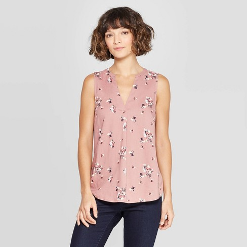 63d26a6a089cf1 Women's Floral Print Sleeveless Deep V-Neck Popover Blouse - A New Day™ :  Target