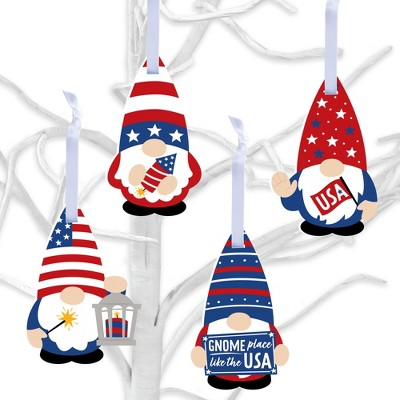 Big Dot of Happiness Patriotic Gnomes - Holiday Gnome Decorations - Tree Ornaments - Set of 12