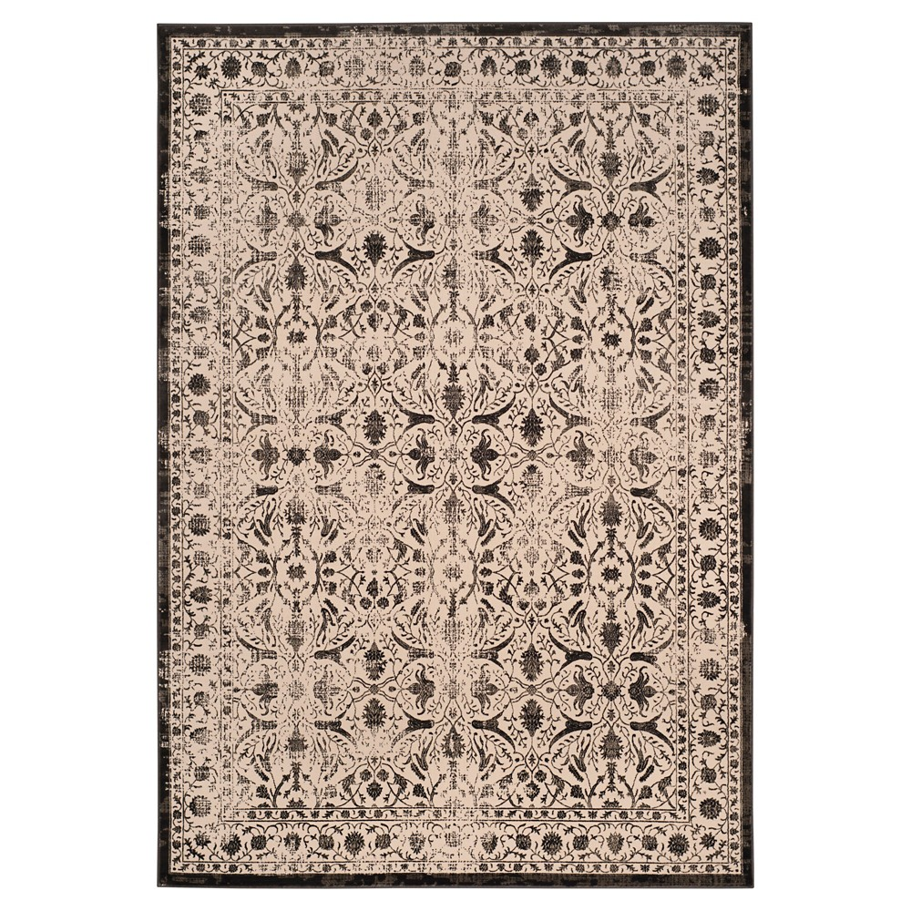 Creme/Black Abstract Loomed Area Rug - (6'7