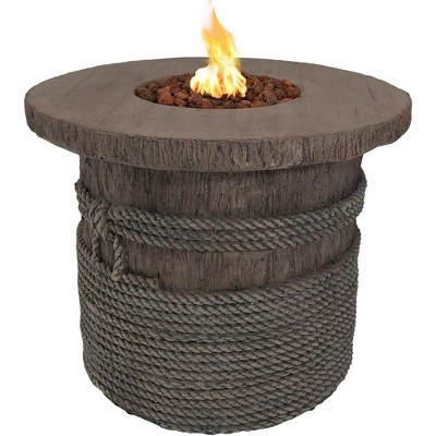 """Sunnydaze Rope and Barrel Design Propane Gas Patio Fire Pit Table Kit with Lava Rocks - 29"""" Diameter"""