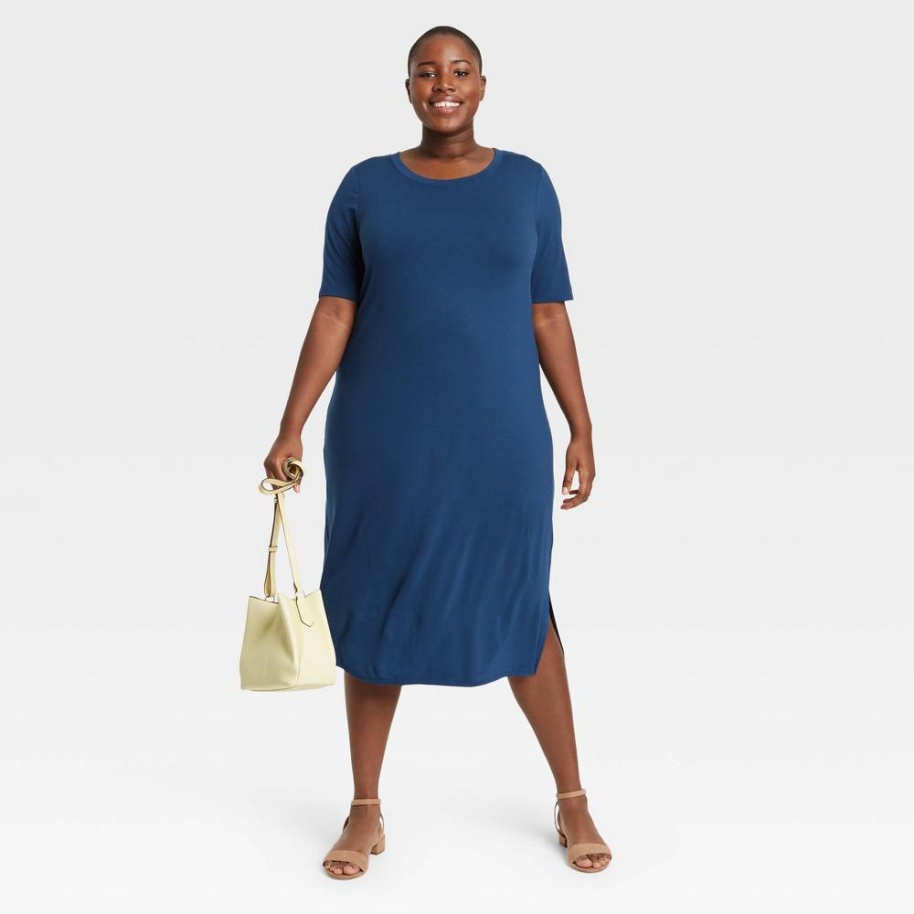 Women 39 S Plus Size Short Sleeve Knit Dress Ava 38 Viv 8482 Blue 4x