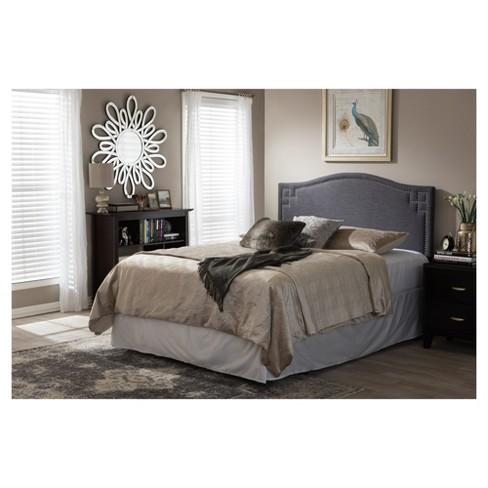 Aubrey Modern And Contemporary Fabric Upholstered Headboard Full Dark Gray Baxton Studio Target
