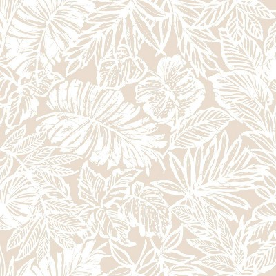 RoomMates Batik Tropical Leaf Peel & Stick Wallpaper Beige