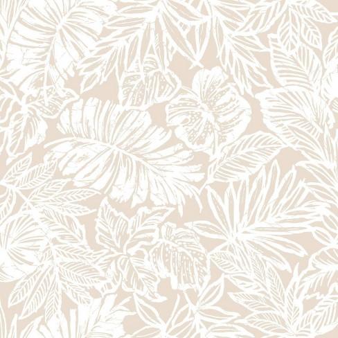 Roommates Batik Tropical Leaf Peel Stick Wallpaper Beige Target