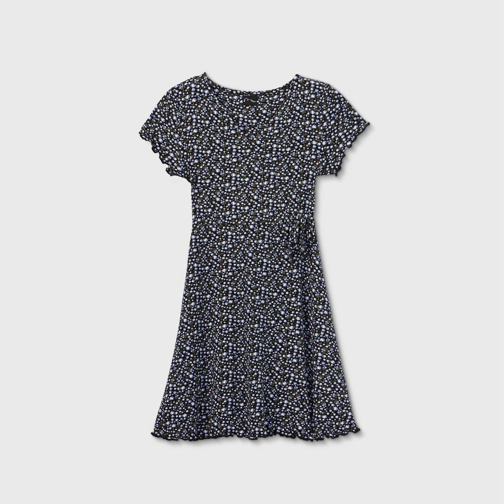 Girls 39 Short Sleeve Wrap Dress Art Class 8482 Black M