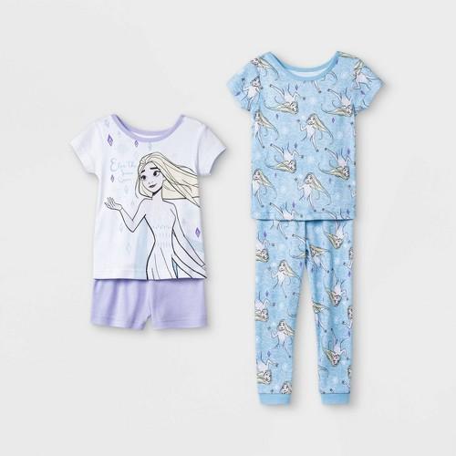 Toddler Girls 4pc 100 Cotton Frozen Snug Fit Pajama Set Whit