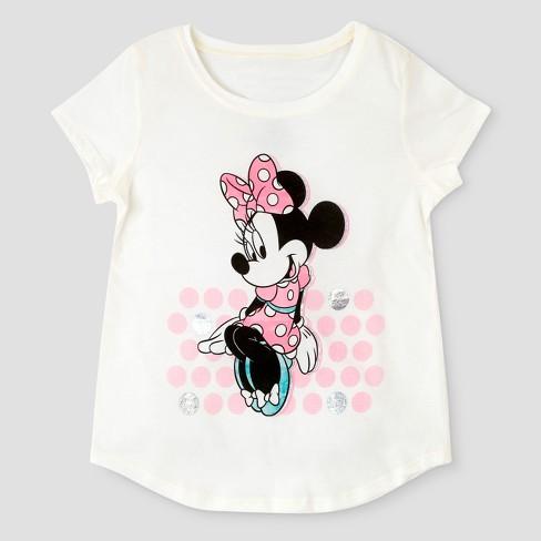 e89778c63 Girls' Disney Minnie Mouse Short Sleeve T-Shirt - Ivory : Target