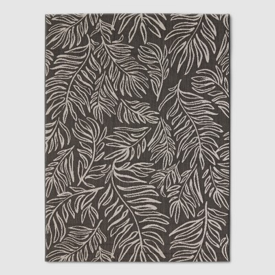 6' x 9' Leaves Outdoor Rug Black - Project 62™