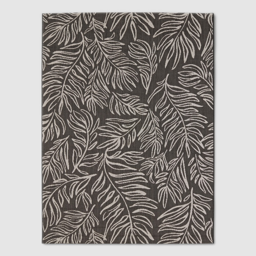 Image of 6' x 9' Leaves Outdoor Rug Black - Project 62, Black White