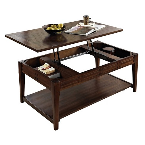 Crestline Lift Top Cocktail Table with Casters Mocha Cherry - Steve Silver - image 1 of 3