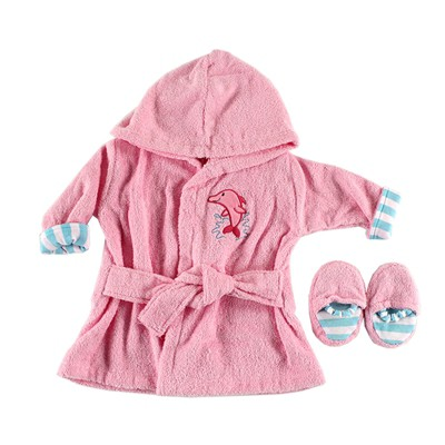 Luvable Friends Baby Girl Cotton Terry Bathrobe, Pink, One Size