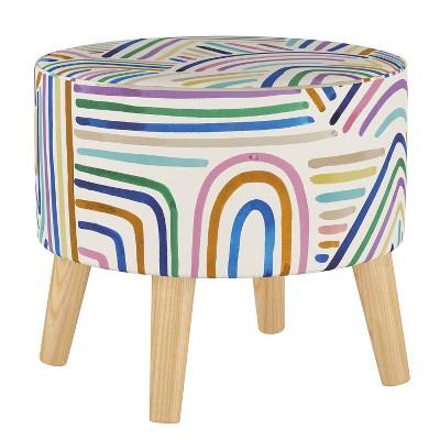 Round Ottoman with Splayed Legs Rainbow Strokes Ochre - Skyline Furniture