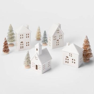 White Ceramic Houses with Metallic Trees Kit - Wondershop™