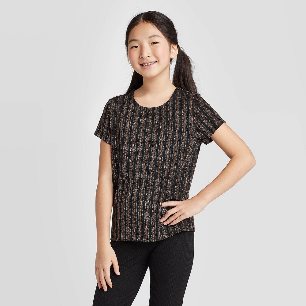 petiteGirls' Short Sleeve Metallic Knit Top - art class Black L, Girl's, Size: Large, MultiColored was $15.99 now $5.59 (65.0% off)