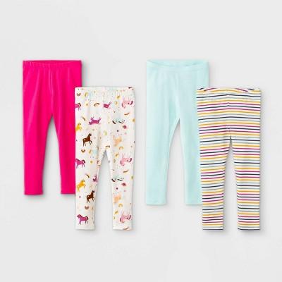 Toddler Girls' 4pk Printed & Solid Leggings - Cat & Jack™ Pink/Mint
