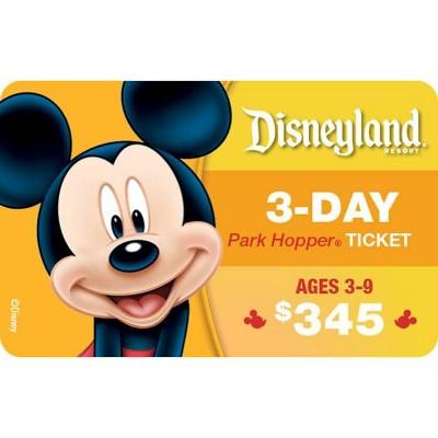 Disneyland Resort 3-Day Park Hopper , Ticket Ages 3-9 $345 (Email Delivery)