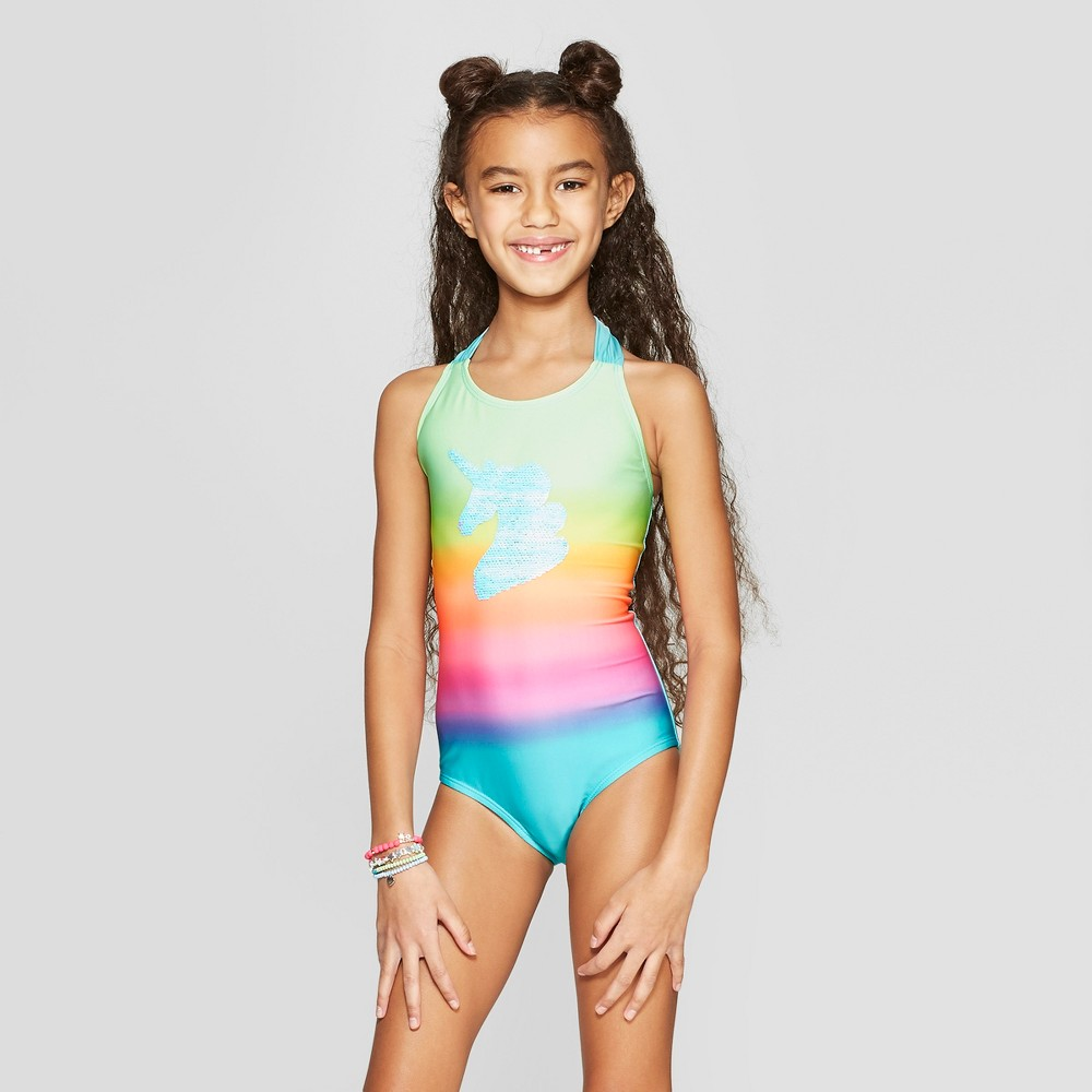 Plus Size Girls' Flip Sequins Time to Shine One Piece Swimsuit - Cat & Jack L Plus, Multicolored