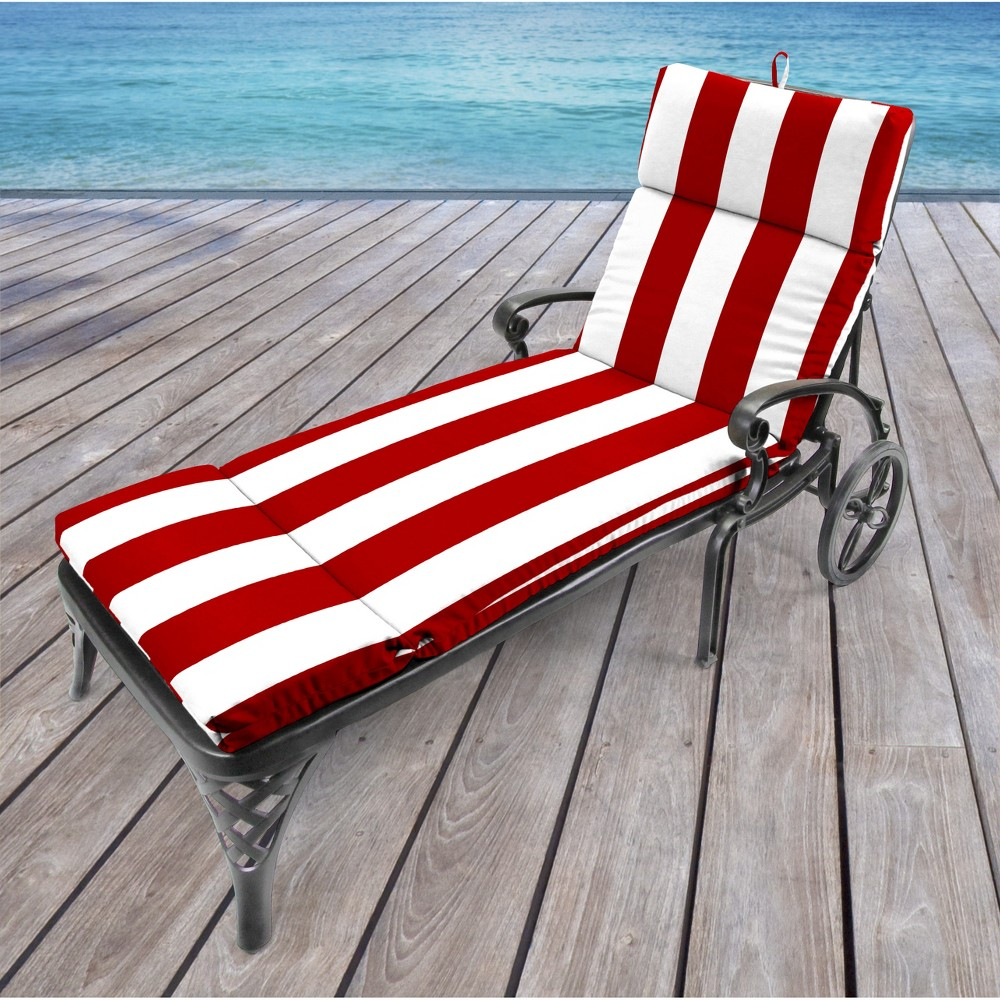 Image of Jordan French Edge Outdoor Cushion - Cabana Stripe Red