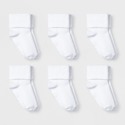 Baby 6pk Turn Cuff Socks - Cat & Jack™ White 12-24M