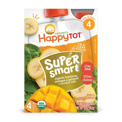 HappyTot Super Smart 4pk Organic Bananas Mangos & Spinach with Coconut Milk - 16oz