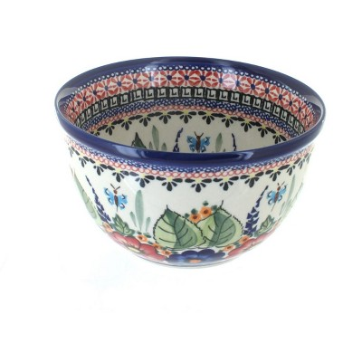 Blue Rose Polish Pottery Floral Butterfly Small Mixing Bowl