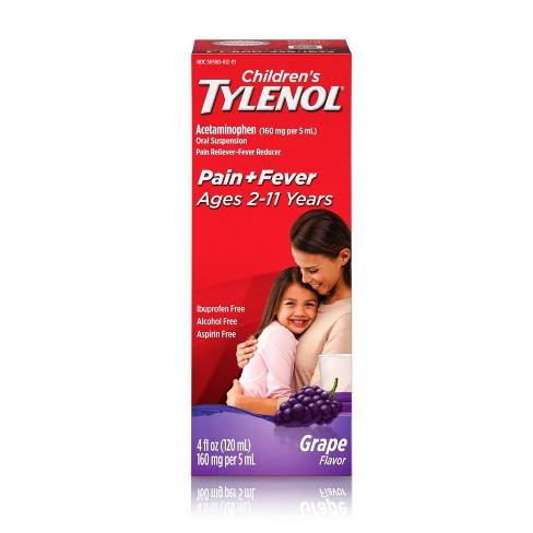Children's Tylenol Pain + Fever Relief Liquid - Acetaminophen - Grape - 4 fl oz - image 1 of 4