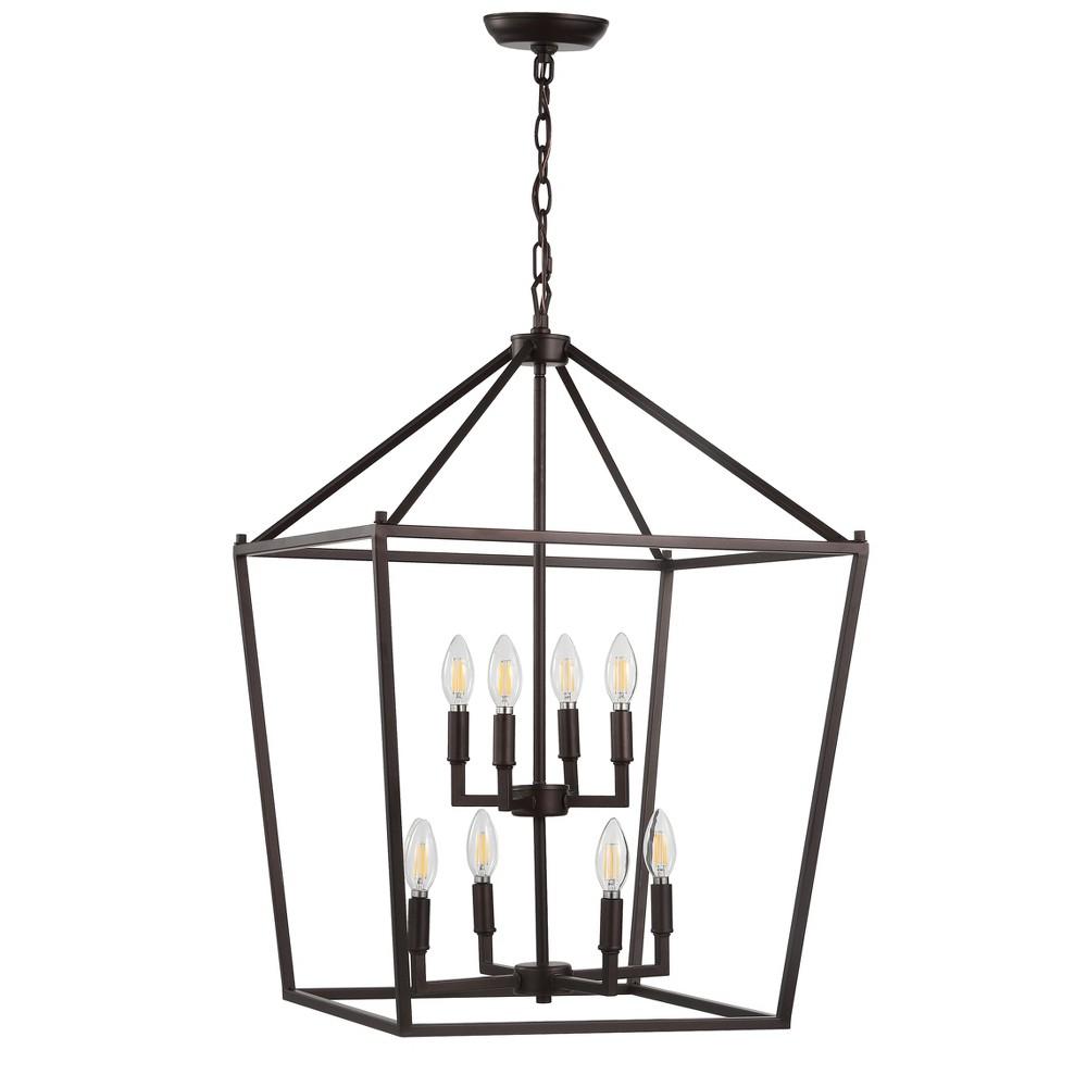 20 Pagoda 8 Bulb Lantern Metal Led Pendant Black - Jonathan Y