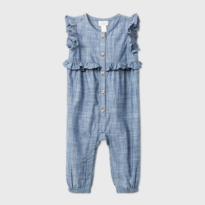 Baby Girls' Chambray Romper - Cat & Jack™ Blue 0-3M