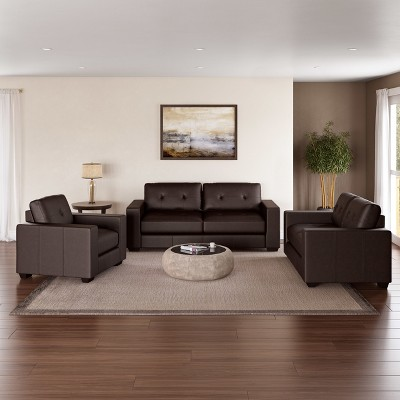 Corliving 3pc Club Tufted Bonded Leather Sofa Set Chocolate Brown : Target