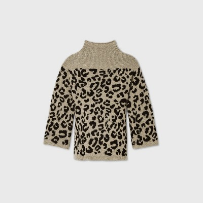 Maternity Animal Print Mock Turtleneck Pullover Sweater - Isabel Maternity by Ingrid & Isabel™ Brown/Black XXL