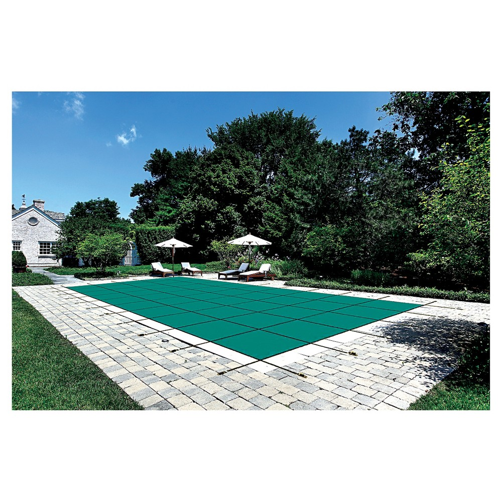 WaterWarden Safety Pool Cover for 14' x 28' In Ground Pool - Green Solid with Center Drain Panel