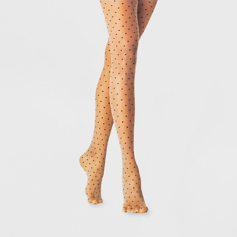 Women's Sheer Pin Dot Tights - A New Day™ Black - image 1 of 2