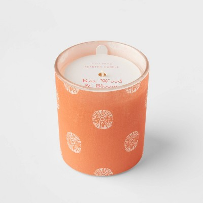 5oz Global Paper Wrapped Glass Koa Wood and Blooms Candle - Opalhouse™