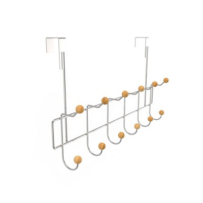 Over the Door Organizer Rack with Six Double Hooks Brown - Hastings Home