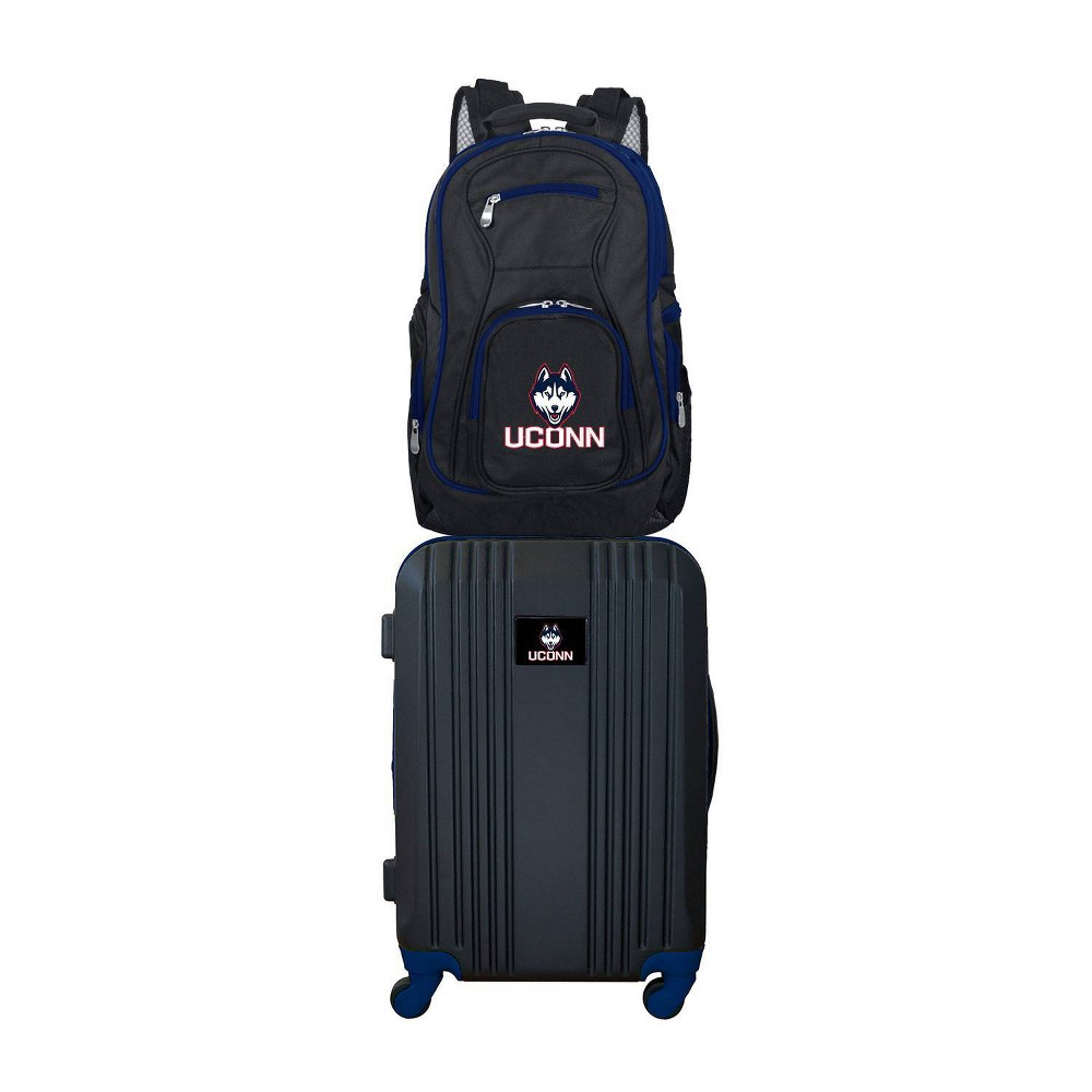 NCAA UConn Huskies Premium 2pc Backpack & Carry-On Luggage Set