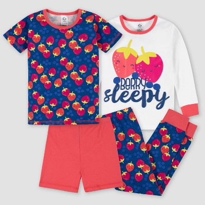 Gerber Toddler Girls' 4pc Pajama Set - Pink/Dark Blue