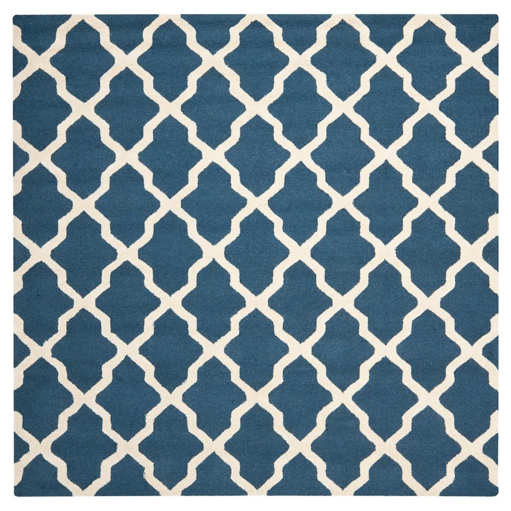10 39 X10 39 Square Maison Textured Rug Navy Blue Ivory Safavieh