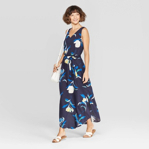 Women's Floral Print Sleeveless V-Neck Woven Maxi - A New Day™ Navy - image 1 of 5