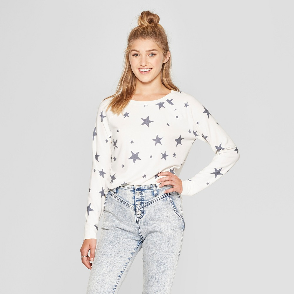 Women's Star Print Pullover Sweatshirt - Grayson Threads (Juniors') Beige M