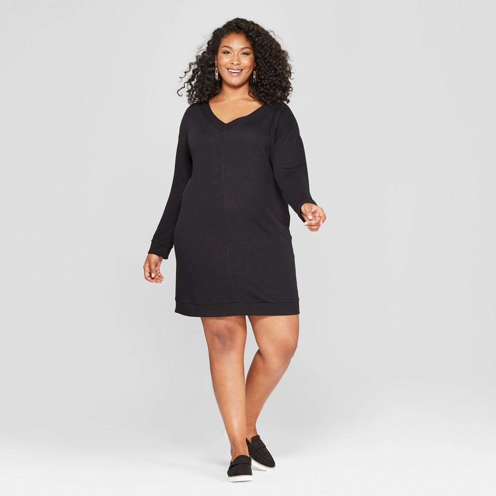 Women's Plus Size Tie Back Dress - Ava & Viv Black 3X