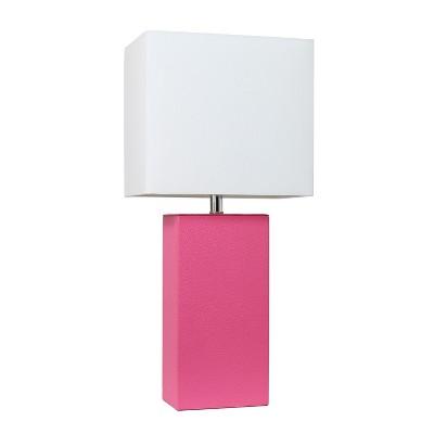 "21"" Monaco Avenue Modern Leather Table Lamp Hot Pink - Elegant Designs"