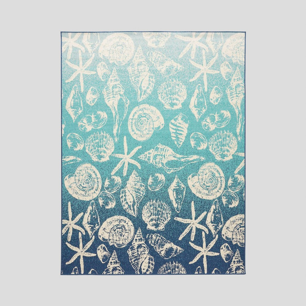 7'10 x 10' Sea Breeze Ombre Outdoor Rug Blue/Ivory - Christopher Knight Home