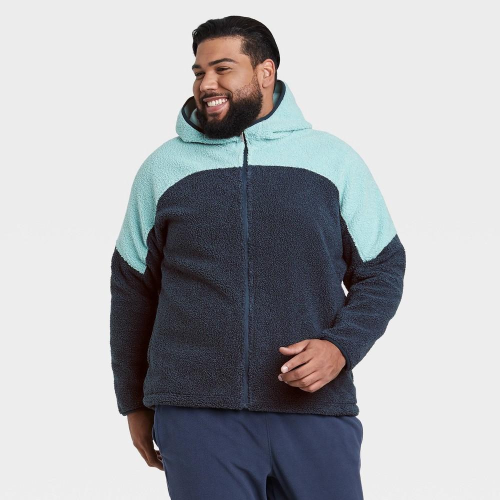 Men 39 S Fleece Full Zip Sweatshirt All In Motion 8482 Blue Xxl